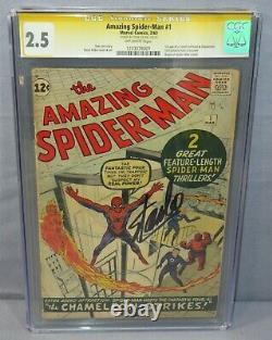 AMAZING SPIDER-MAN #1 (Stan Lee Signed, Chameleon 1st app) CGC 2.5 Marvel 1963