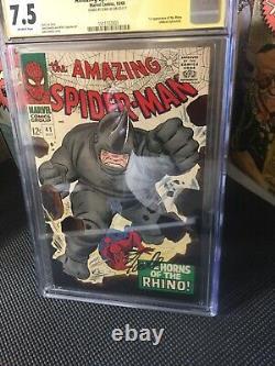 AMAZING SPIDER MAN 41 CGC SS 7.5 Stan Lee Auto 1st Rhino John Romita art 1966
