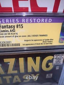 Amazing Fantasy #15 CGC 2.5 RARE SIGNATURE SERIES! By Stan Lee! Restored
