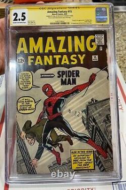 Amazing Fantasy 15 CGC 2.5 SS Stan Lee Grail 1st Spider-Man