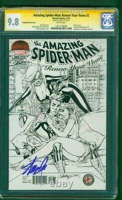 Amazing SPIDER MAN 2 CGC SS 9.8 Stan Lee Auto Campbell Black Cat Sketch Variant