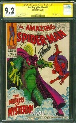 Amazing SPIDER MAN 66 CGC SS 9.2 Stan Lee Sign Mysterio John Romita art 1968