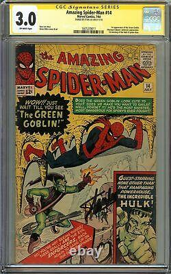 Amazing Spider-Man #14 CGC 3.0 SIGNED STAN LEE 1st app GREEN GOBLIN Ditko Cover