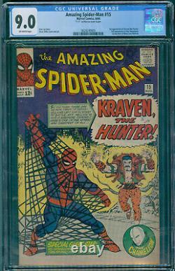 Amazing Spider-Man 15 CGC 9.0 NM- Ditko Stan Lee oftw 1st Kraven the Hunter
