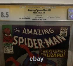 Amazing Spider-Man #44 CGC SS 8.5 Stan Lee Marvel 2nd Lizard 1967, White Pages