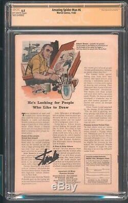 Amazing Spider Man 6 Cgc 6.5 SS Stan Lee Origin 1st app Lizard