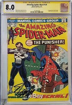 Amazing Spider-man #129 Cgc 8.0 Ss Signed Stan Lee 1st Punisher