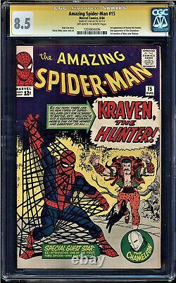 Amazing Spider-man #15 Cgc 8.5 Oww Ss Stan Lee 1st Kraven Appearance #1203804006