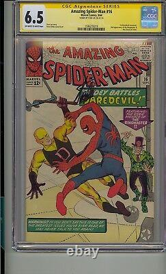 Amazing Spider-man #16 Cgc 6.5 Ss Signed Stan Lee 1st Daredevil Crossover