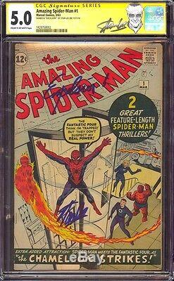 Amazing Spider-man 1 Cgc 5.0 Ss Stan Lee Quoted Excelsior! New Stan Lee Label