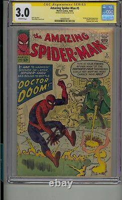 Amazing Spider-man #5 Cgc 3.0 Ss Signed Stan Lee Doctor Doom Appearance