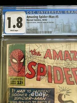 Amazing Spiderman #5 CGC 1.8 White Pages, Marvel 10/63 Stan Lee Steve Ditko Key