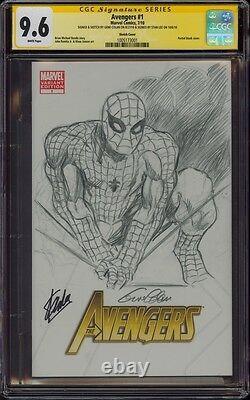 Avengers 1 Cgc 9.6 2x Ss Gene Colan Sketch Art Spider-man Signed Stan Lee Mint