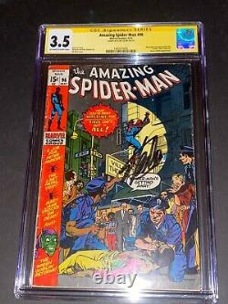CGC 3.5 Amazing SPIDER-MAN #98 signed by Stan Lee GREEN GOBLIN Drug Issue
