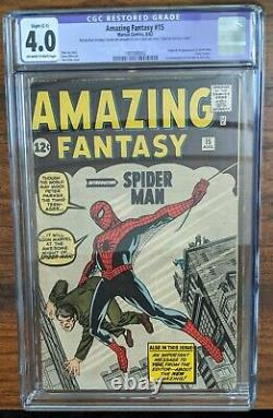 Marvel Comics Amazing Fantasy #15 CGC 4.0 (1st appearance of Spiderman) Stan Lee