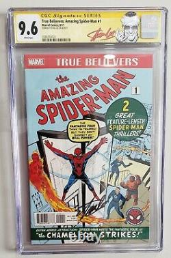 Marvel True Believers Reprint Amazing Spiderman #1 Signed by Stan Lee CGC 9.6 SS