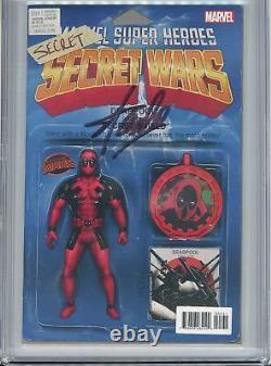 STAN LEE SIGNED DEADPOOL SECRET WARS #1 9.8 CGC ACTION FIGURE VARIANT Spider-man