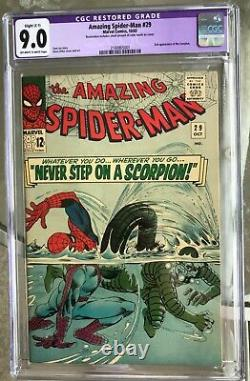 THE AMAZING SPIDER-MAN #29 CGC 9.0 - 2ND SCORPION STAN LEE (slight restoration)
