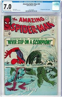1965 The Amazing Spider-man #29 Stan Lee 2ème Apparition Du Scorpion Cgc 7.0