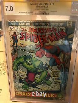 1973 Amazing Spider-man #119 Cgc 7.0 Ss Signé Par Stan Lee Spidey Vs The Hulk
