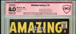 Amazing Fantasy #15 Cbcs Graded 8.0 Vérifié Stan Lee Signature Cgc