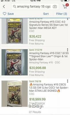 Amazing Fantasy # 15 Cgc 1.8 Ss Lee Stan 1962 Appuie Pas Encore 1er App. Homme Araignée