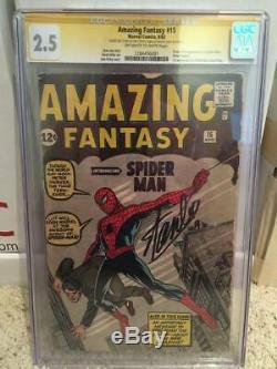 Amazing Fantasy # 15 Cgc 2.5 Signé Stan Lee Af15 1er Apparence Spider-man