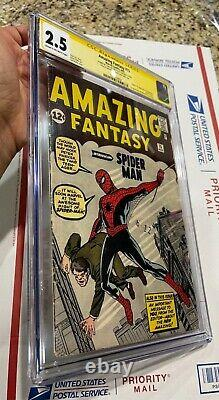 Amazing Fantasy 15 Cgc 2.5 Ss Stan Lee Grail 1er Spider-man