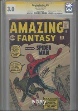 Amazing Fantasy #15 Cgc 3.0 Ss Signé Par Stan Lee