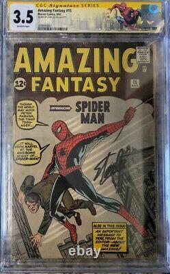 Amazing Fantasy #15 Cgc 3.5 Af15 1st Spider-man Signé Par Stan Lee