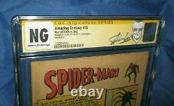 Amazing Fantasy #15 Cgc Ng Ss Signé/autographe Par Stan Lee 1er Spiderman