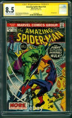 Amazing Spider Man 120 Cgc Ss 8.5 Stan Lee Signé Vs Hulk 1973 Romita Cover