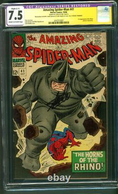 Amazing Spider Man 41 Cgc Ss 7.5 Stan Lee Auto 1er Rhino John Romita Art 1966