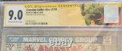 Amazing Spider-man #119 Cgc 9.0 Ss Signé Par Stan Lee! 1973