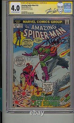 Amazing Spider-man #122 Cgc 4.0 Ss Signé Stan Lee Décès De Goblin Vert