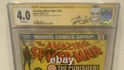Amazing Spider-man 129 Cgc 4.0 Ss Signé Stan Lee Conway 1er Punisher Mcu Rumeurs