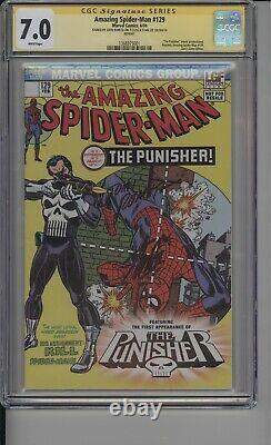 Amazing Spider-man 129 Cgc 7.0 Porte Des Lions Signé Par Stan Lee & John Romita