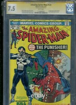 Amazing Spider-man # 129 Cgc 7.5 Wp Ss Signé Stan Lee 1er Punisher Frank Castle