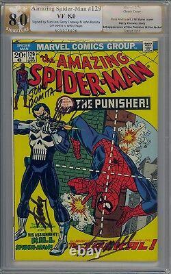 Amazing Spider-man 129 Pgx / Cgc 8.0 Signé 4x Deux Fois Par Stan Lee + Romita/conway