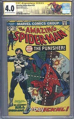 Amazing Spider-man #129 Vol 1 Cgc 4.0 Ss Signature Series Stan Lee 1er Punisher