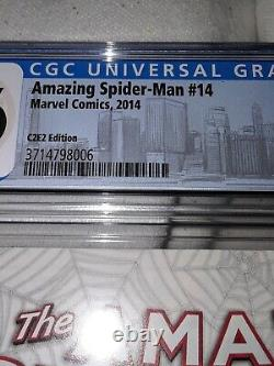 Amazing Spider-man #14 Marvel 2014 S. Young C2e2 B&w Cgc 9.6 Stan Lee Tribute