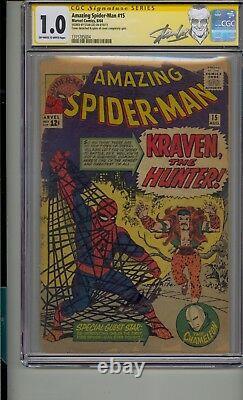 Amazing Spider-man #15 Cgc 1.0 Ss Signé Stan Lee 1ère App Kraven The Hunter