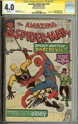 Amazing Spider-man #16 1er Crossover Daredevil Cgc 4.0 Ss Stan Lee
