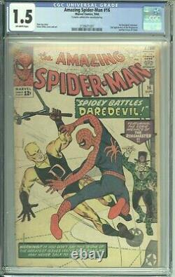 Amazing Spider-man #16 Cgc 1.5 (marvel 1964) 1er Daredevil Crossover Stan Lee
