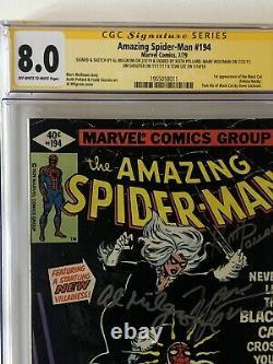 Amazing Spider-man #194 1st Black Cat Cgc 8.0 Signé 5x Avec Remarque Stan Lee +4