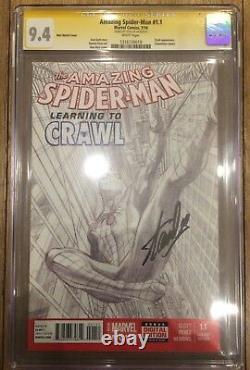 Amazing Spider-man 1.1 1200 Cgc Ss 9.4 Signé Stan Lee Alex Ross Sketch