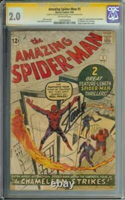 Amazing Spider-man #1 Cgc 2.0 Ow Pages // Signé Par Stan Lee 1963