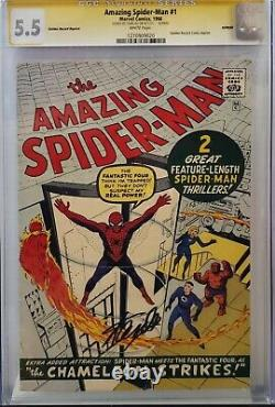 Amazing Spider-man #1 Cgc 5.5 Ss Signé Stan Lee Golden Record Grr White Pages