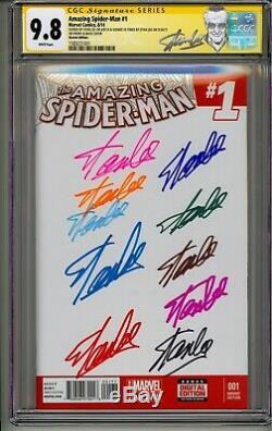 Amazing Spider-man # 1 Cgc Ss 9.8 Stan Lee Signé 11x En Couleur Sharples 1/1