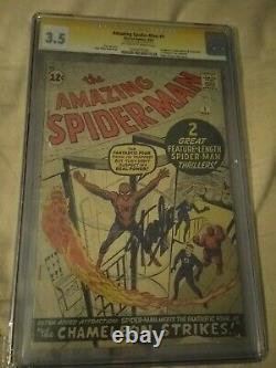 Amazing Spider-man #1 Signé Par Stan Lee Le 4/12/15off Blanc À Pages Blanches
